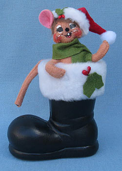 """Annalee 5"""" Mouse in Santa's Boot - Mint - 600112"""