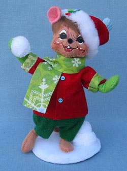 "Annalee 6"" Snowflake Snowball Fun Mouse - Mint - 600512"