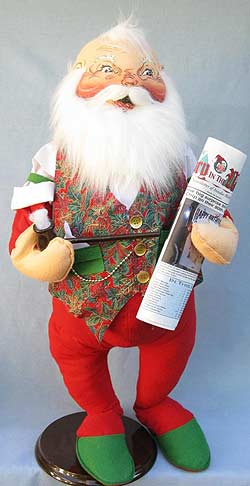 """Annalee 30"""" Sunday Morning Santa with Pipe and Newspaper - Excellent - 601196a"""