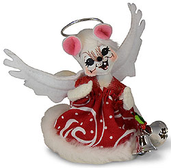 """Annalee 5"""" Angel Mouse with Bells 2019 - Mint - 610019"""
