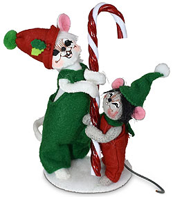 """Annalee 5"""" & 3"""" Candy Cane Mice 2021 - Mint - 610121"""