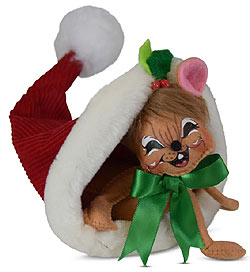 """Annalee 6""""  Snow Fun Mouse in Santa's Hat 2019 - Mint - 611019"""