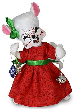 "Annalee 6"" Whimsy Girl Mouse with Ornaments 2020 - Mint - 611520"