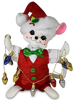 "Annalee 6"" Whimsy Boy Mouse with Lights 2020 - Mint - 611620"