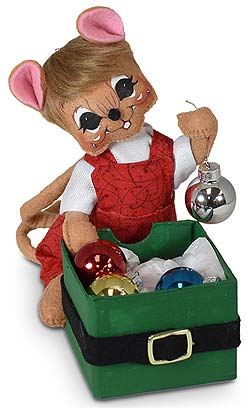 """Annalee 6"""" Whimsy Mouse with Ornament Box 2020 - Mint - 611720"""