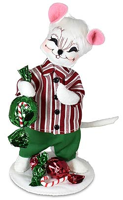 """Annalee 6"""" Christmas Candy Boy Mouse 2021 - Mint - 611721"""