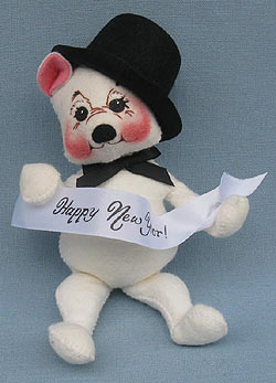 """Annalee 8"""" Happy New Year Celebration Bear - Excellent - 630900a"""