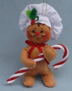 """Annalee 4"""" Gingerbread Chef Holding Candy Cane Ornament 2017 - Mint - 700517"""