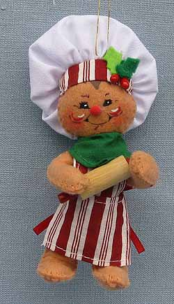 """Annalee 4"""" Gingerbread Chef Ornament with Rolling Pin 2016 - Mint - 700616"""