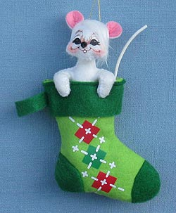 "Annalee 3"" Cheery Mouse in Stocking Ornament 2014 - Mint - 700714"