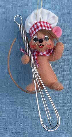 """Annalee 3"""" Chef Mouse on Wisk Ornament 2014 - Mint - 700914"""
