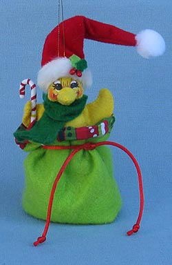 """Annalee 3"""" Ducky Gift Bag Ornament 2015 - Mint - 700915"""