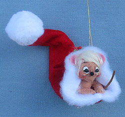 """Annalee 3"""" Mouse in Santa's Hat Ornament 2014 - Mint - 701114"""