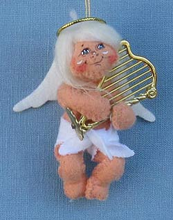 """Annalee 3"""" Musical Angel with Harp Ornament 2014 - Mint - 701314"""