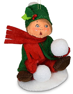 """Annalee 3"""" Kid with Snowball Ornament 2021 - Mint - 710021"""