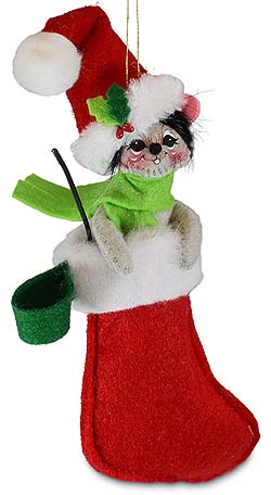 """Annalee 3"""" Mouse in Stocking Ornament 2020 - Mint - 710220"""