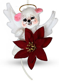 """Annalee 3"""" Poinsettia Angel Mouse Ornament 2020 - Mint - 710320"""
