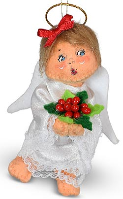 """Annalee 3"""" Angel with Holly Ornament 2021 - Mint - 710321"""