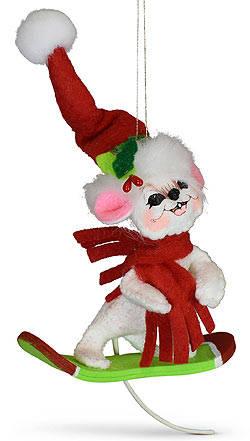 """Annalee 3"""" Snowboarding Mouse Ornament 2020 - Mint - 710620"""