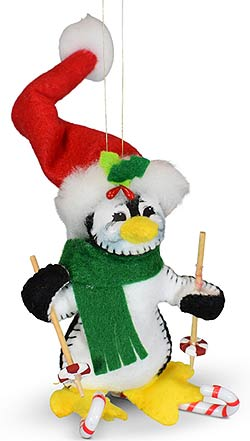 """Annalee 4"""" Candy Cane Skier Penguin Ornament 2021 - Mint - 710721"""