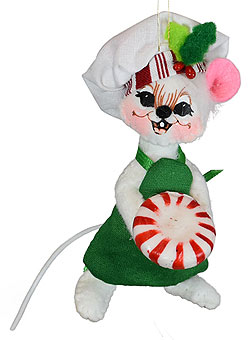 """Annalee 3"""" Peppermint Chef Mouse Ornament 2021 - Mint - 710821"""