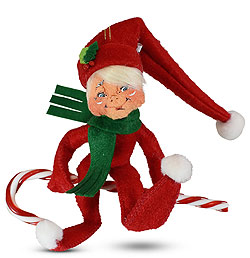 """Annalee 4"""" Elf on Candy Cane Ornament 2020 - Mint - 710920"""