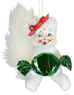 """Annalee 3"""" Candy Kitty Cat Ornament 2021 - Mint - 710921"""