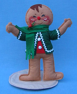"Annalee 10"" Gingerbread Boy wit  Green Jacket- Mint/ Near Mint - 729591ox"