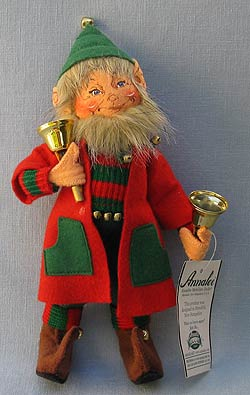 """Annalee 9"""" Bell Ringer Elf with Instrument - Mint - 737804ox"""