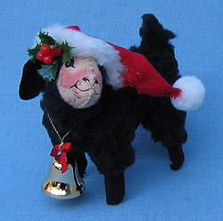 """Annalee 5"""" Black Lamb with Santa Hat and Bell - Mint - 742593"""