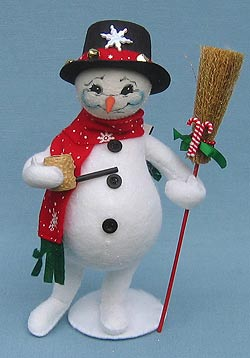 "Annalee 9"" Classic Snowman with Pipe and Broom - Mint - 749106"