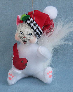 "Annalee 4"" Classy Kitty Cat Holding Cardinal Ornament 2014 - Mint - 750214"