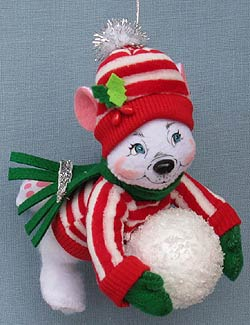 """Annalee 5"""" Silver Sparkle Polar Bear Ornament 2013 - Mint - 751013"""