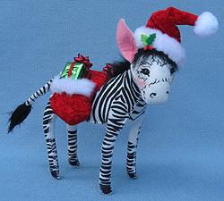 """Annalee 7"""" Cozy Christmas Zebra - Mint - 751312"""