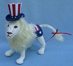 """Annalee 8"""" Patriotic Lion with Uncle Sam Hat 2013 - Mint - 751813cc"""