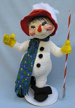 "Annalee 18"" Shoveling Snowflakes Snowman - Very Good - 752598a"