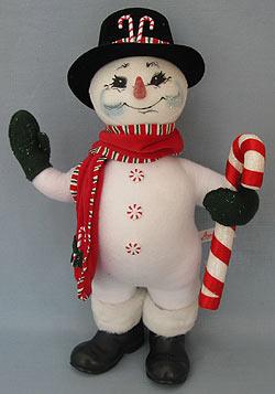 "Annalee 15"" Peppermint Snowman - Near Mint - 753305a"