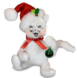 """Annalee 4"""" Kitty Cat with Ornament 2021 - Mint - 760121"""