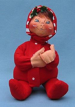 "Annalee 12"" PJ Boy with Brown Hair in Red PJs - Mint - 763592ox"