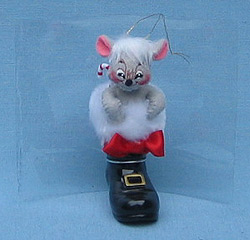 """2005 Annalee 3/"""" Mouse in Santa Boot Ornament"""