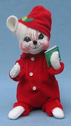 """Annalee 6"""" Mr Tuckered Mouse with Merry Christmas Book - Mint - 772106a"""