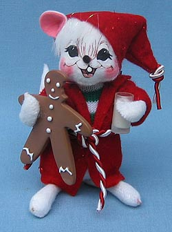 """Annalee 6"""" Mouse with Milk & Gingerbread Cookie - Mint - 772606"""