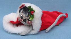 "Annalee 7"" Mouse in Velour Santa Cap - Mint / Near Mint - 773087"