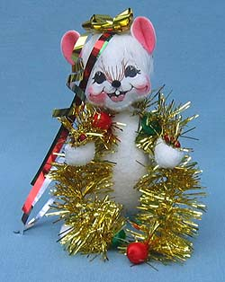 """Annalee 6"""" Decorating Mouse with Gold Tinsel - Mint - 773206"""