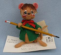 "Annalee 7"" Letter to Santa Mouse with Glasses - Near Mint - 775196oxa"