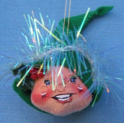 """Annalee 3"""" Green Elf Head Ornament - Mint - 780396"""