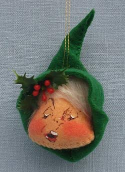 "Annalee 3"" Green Elf Head Ornament - Mint - 781082grxsing"
