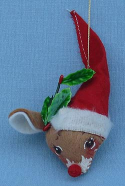 "Annalee 3"" Deer Head Ornament with Red Nose - Mint - 781571"