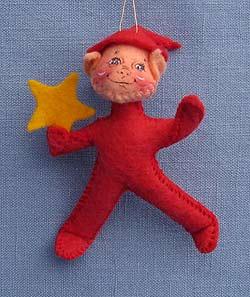 "Annalee 3"" Red Starbright Elf Ornament Holding Star - Mint - 782295"
