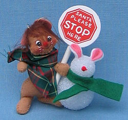 """Annalee 3"""" Waiting for Santa Mouse Ornament - Mint - 793398ox"""